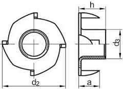 DIN 1624 4 prong tee nuts